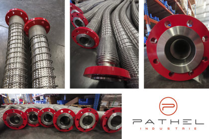 Stainless corrugated steel hoses reinforced with springs and flanges red by Pathel